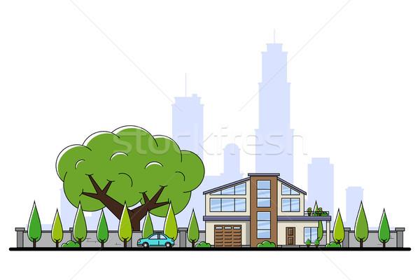 Modern ház kép lakóövezeti autó fák Stock fotó © shai_halud