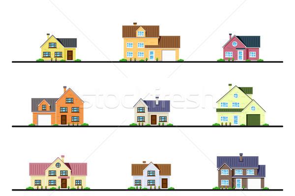 セット 住宅 都市 郊外の コテージ スタイル ストックフォト © shai_halud
