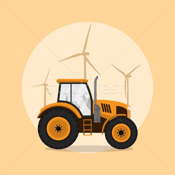 Zugmaschine Bild Windmühle Silhouetten Stil Illustration Stock foto © shai_halud