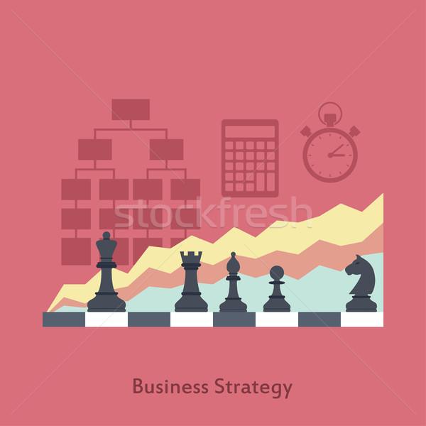 Estratégia de negócios quadro tabuleiro de xadrez gráficos ícones estilo Foto stock © shai_halud