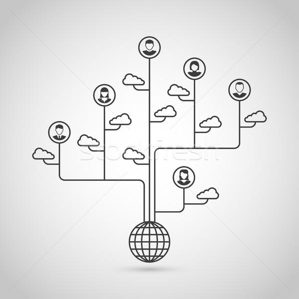 社会的ネットワーク 黒白 シルエット バナー インターネット 通信 ストックフォト © shai_halud
