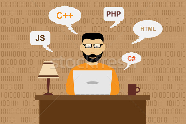 Programozós kép dolgozik szoftver fejlesztés stílus Stock fotó © shai_halud