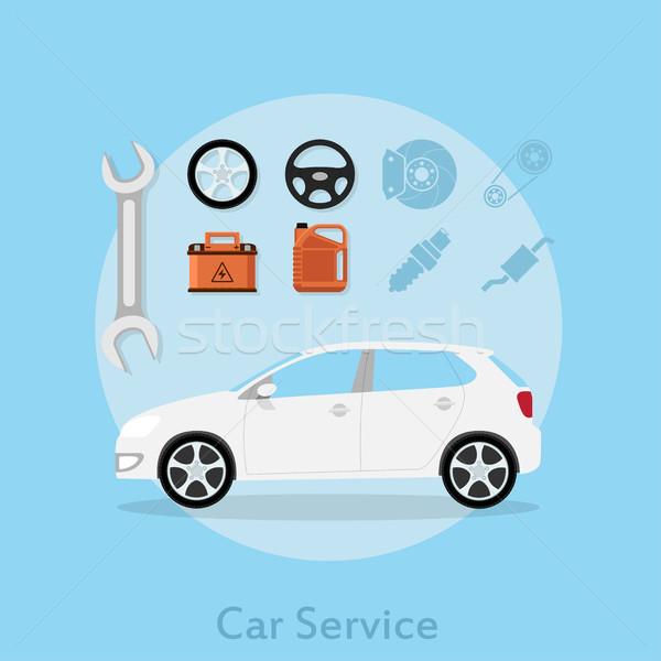 ストックフォト: 車 · サービス · 画像 · アイコン · ホイール · バッテリー