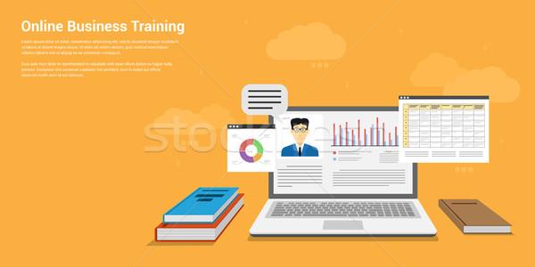онлайн бизнеса подготовки стиль баннер дизайна Сток-фото © shai_halud