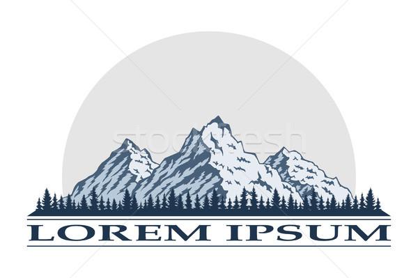 Foto stock: Logotipo · montanha · ícone · turismo · caminhadas