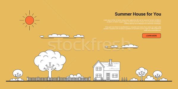 лет дома баннер фотография семьи деревья Сток-фото © shai_halud
