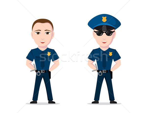 полицейский характер фотография изолированный белый работу Сток-фото © shai_halud