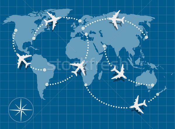 полет карта фотография Мир карта Flying самолеты Сток-фото © shai_halud