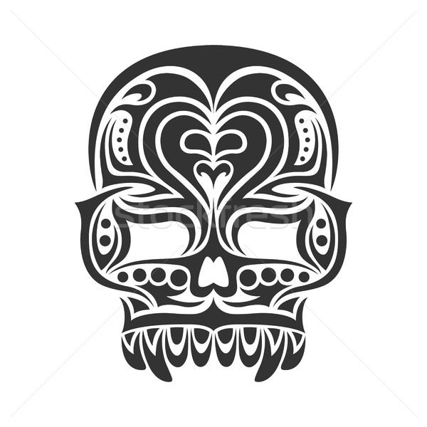 Сток-фото: череп · черно · белые · племенных · дизайна · аннотация · знак