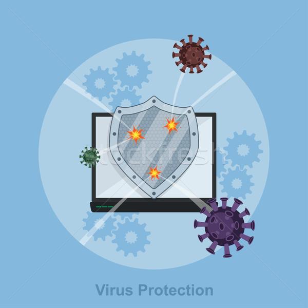 Virus protección ordenador escudo estilo ilustración Foto stock © shai_halud