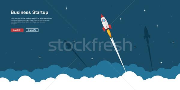 Business startup banner foto raket vliegen Stockfoto © shai_halud