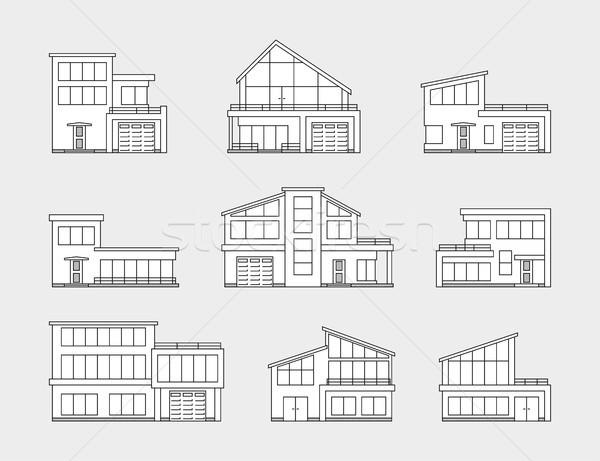 ストックフォト: セット · 住宅 · 家 · アイコン · 孤立した · グレー