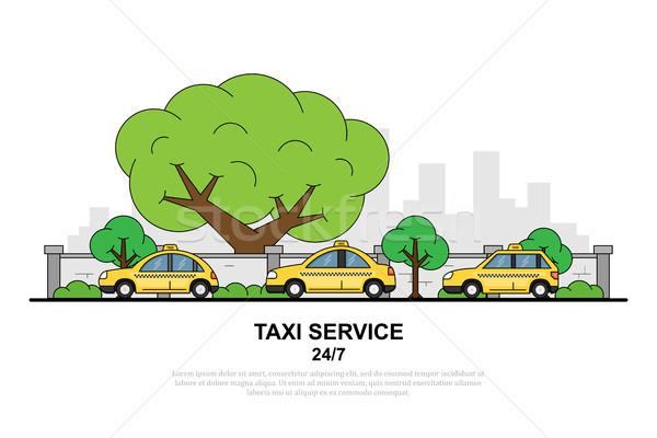 такси службе фотография автомобилей город силуэта Сток-фото © shai_halud