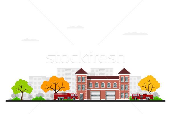 Zdjęcie ognia stacja ciężarówki drzew miasta Zdjęcia stock © shai_halud