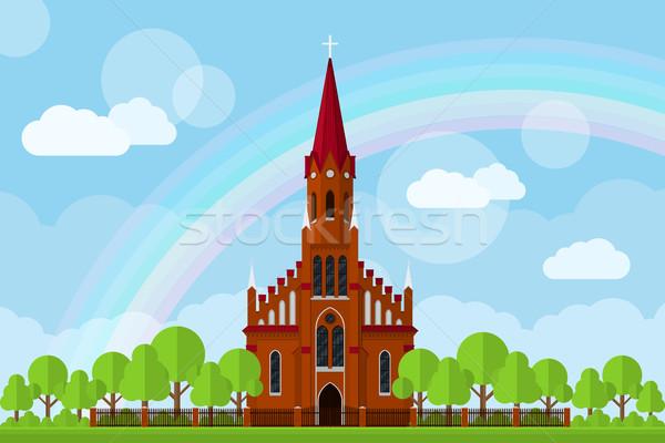 église photos clôture arbres nuages Rainbow Photo stock © shai_halud