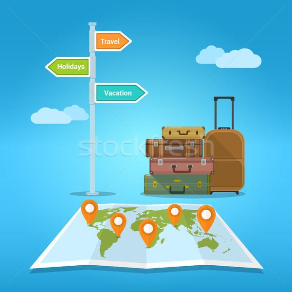 Vakáció utazás bőröndök boglya világtérkép jelzőtábla Stock fotó © shai_halud