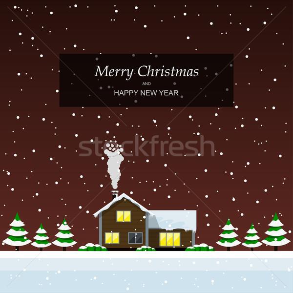 Vidám karácsony tájkép karácsonyi üdvözlet ház fák Stock fotó © shai_halud