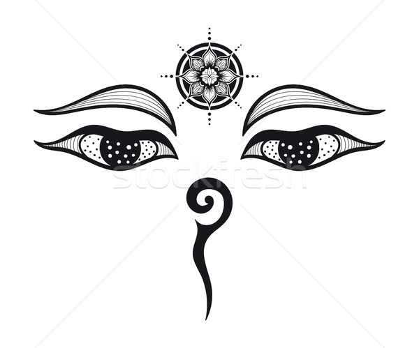 Buddha yeux design bouddhique symbole sagesse Photo stock © shai_halud