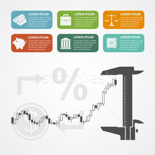Investering sjabloon kandelaar grafiek iconen Stockfoto © shai_halud