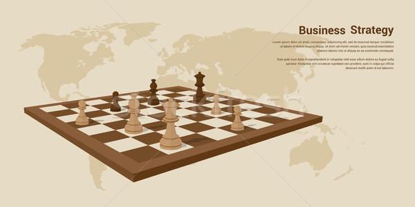 Estrategia de negocios banner Foto tablero de ajedrez ajedrez estilo Foto stock © shai_halud