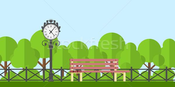 公園 ベンチ 画像 クロック フェンス 木 ストックフォト © shai_halud