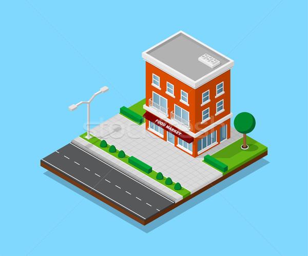 Stockfoto: Isometrische · huis · foto · weg · bomen · straat
