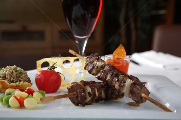 Kebab tomatoe and red wine Stock photo © shamtor