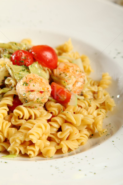 Fresh pasta fusilli with shrimps Stock photo © shamtor