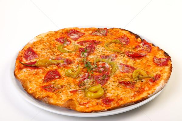 Сток-фото: пиццы · салями · пепперони · белый · ресторан · обеда