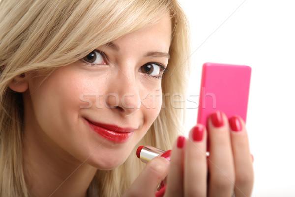 блондинка составляют молодые небольшой зеркало женщину Сток-фото © shamtor