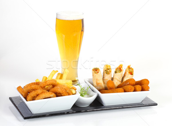 Beer and fried appetizer Stock photo © shamtor