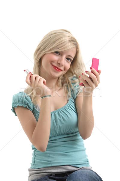 блондинка девушки составляют красные губы улыбаясь Сток-фото © shamtor