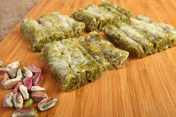 Pisztácia finom török desszert háttér fehér Stock fotó © shamtor