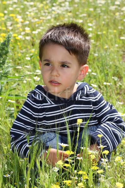 мужчины ребенка зеленый области ребенка трава Сток-фото © shamtor