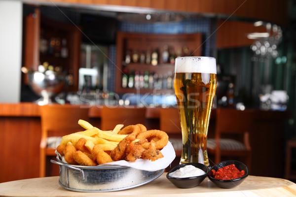 жареный пива стекла Паб ресторан блюдо Сток-фото © shamtor