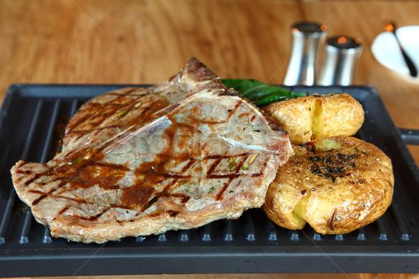 бифштекс жареный картофеля гриль служивший картофель Сток-фото © shamtor