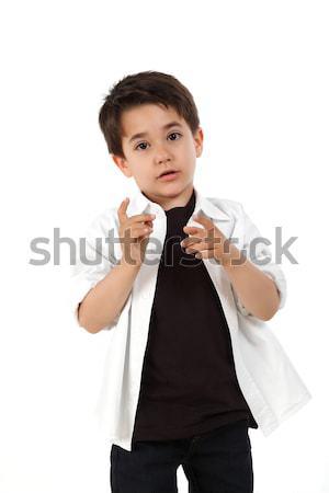 Сток-фото: мужчины · ребенка · Nice · белый · моде · мальчика