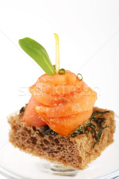 пальца продовольствие хлеб лосося рыбы Сток-фото © shamtor