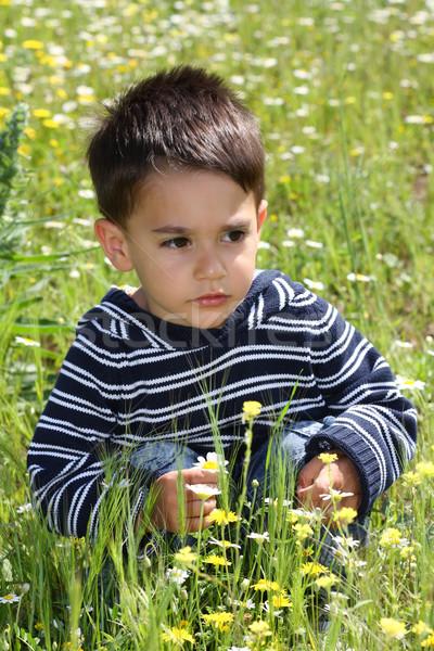 мужчины ребенка ребенка трава счастливым Сток-фото © shamtor