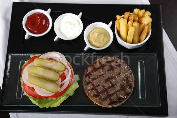 Burger картофель фри Top мнение продовольствие зеленый Сток-фото © shamtor