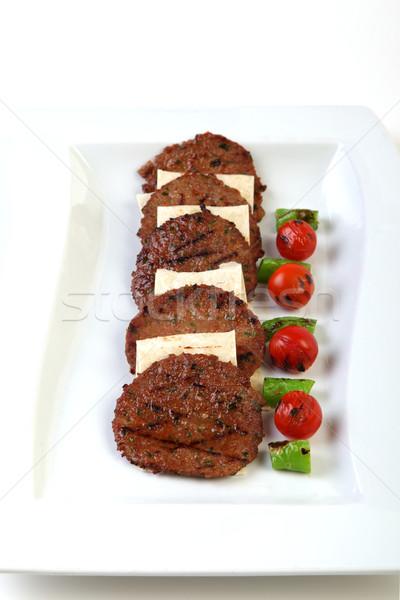 Open hamburger in a plate Stock photo © shamtor