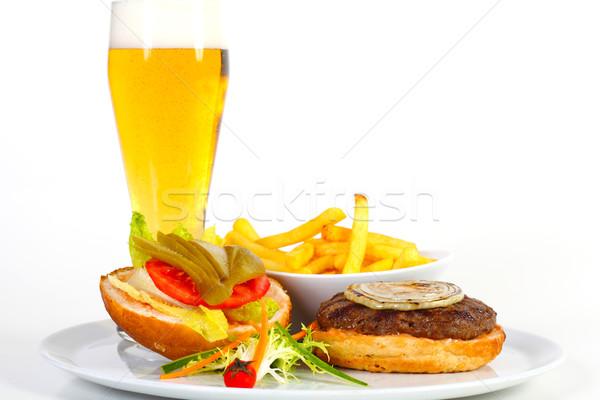 гамбургер пива открытых картофель фри стекла хлеб Сток-фото © shamtor