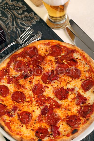 Pizza with hot chilli salami Stock photo © shamtor