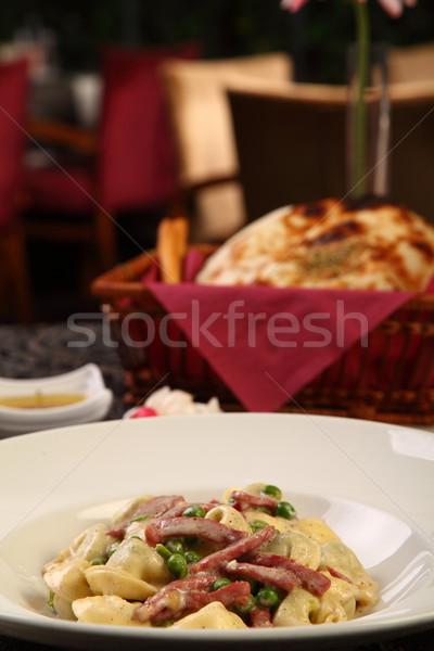 Пельмени ветчиной горох блюдо кремом Сток-фото © shamtor