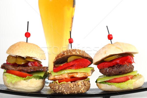 Three hamburgers wuth beer Stock photo © shamtor