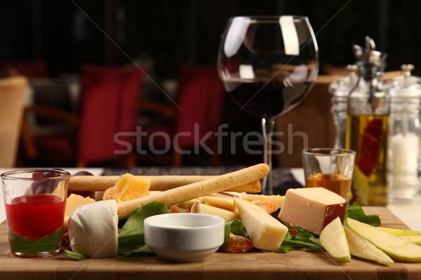 Big mixed cheese plate Stock photo © shamtor