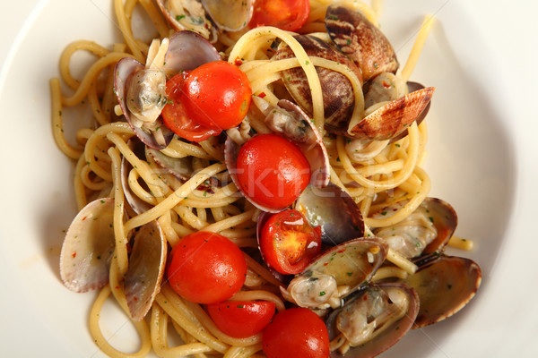 Linguine with clams and tomatoes Stock photo © shamtor