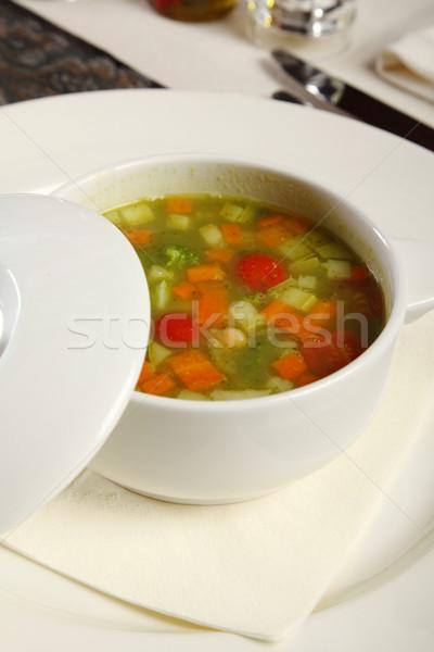 Sopa de legumes servido copo restaurante comida alimentação Foto stock © shamtor