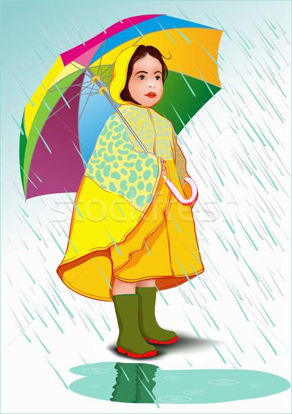 女の子 傘 レインコート 立って 雨 手 ストックフォト © sharpner