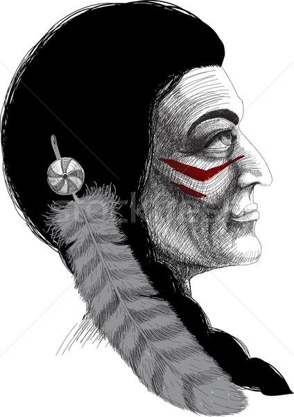 Portrait of an Indian warrior Stock photo © sharpner